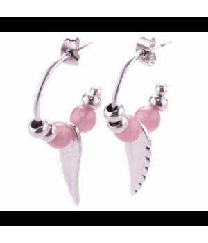 AG287 Hoop Earring Angel Pink